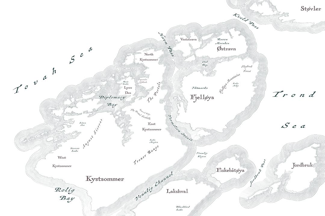 Kystfjell map shorelines