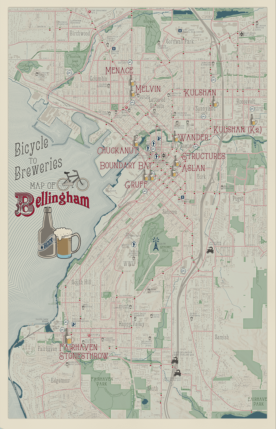Bellingham Beer & Bikes Map by Sarah Bell