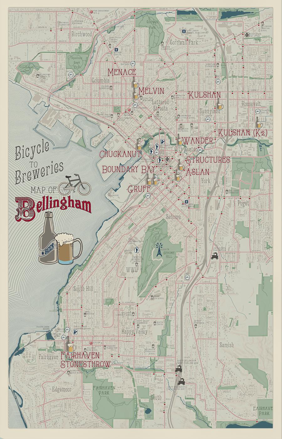 Bellingham Beer & Bikes Map by Sarah Bell
