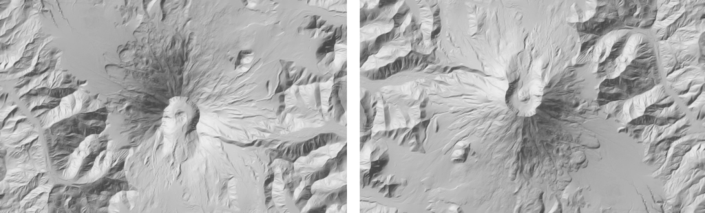 These are identical shaded relief images of Mt. Saint Helens. On the left, the image has been rotated 180 degrees so that the light source is at the lower-right. Notice this orientation gives the image an inverted look - as if the mountains sink into the earth like canyons. On the right, north is at the top of the image.